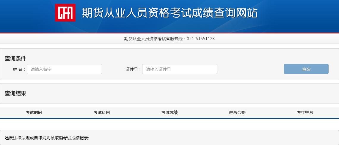 期货从业资格考试成绩查询入口:中国期货业协会